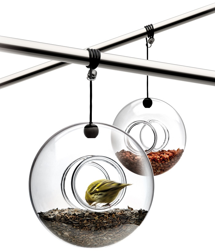 Hand blown glass bird feeders